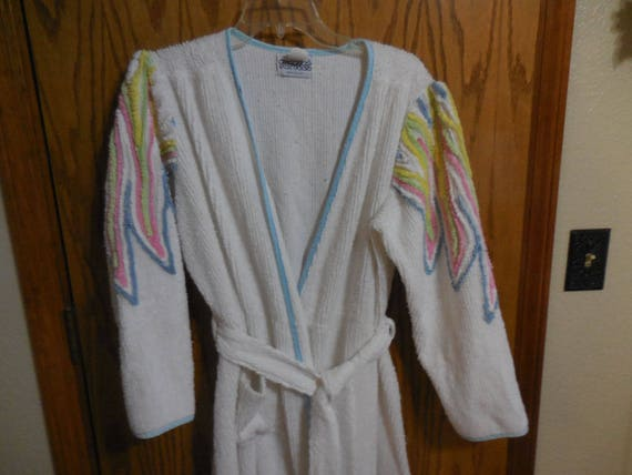 32e093d61c Items similar to Pretty Vintage Old Hollywood Chenille ROBE - White Lines  with Rainbow Feather or Flame Designs Vintage Chenille BATHROBE - Free  Shipping on ...