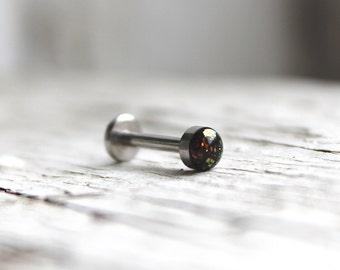 "18g or 16g - Black Opal Internally Threaded Labret Stud; 1.5mm, 2mm, 2.5mm, 3mm, 4mm, 5mm Gems; 5/32"", 1/4"", 5/16"", 3/8"", 15/32"","