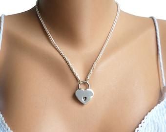 Discreet Day Collar, Discreet BDSM Collar, Sterling Silver BDSM Collar, Sterling Silver Slave Collar, Sterling Silver Bondage Collar, Heart