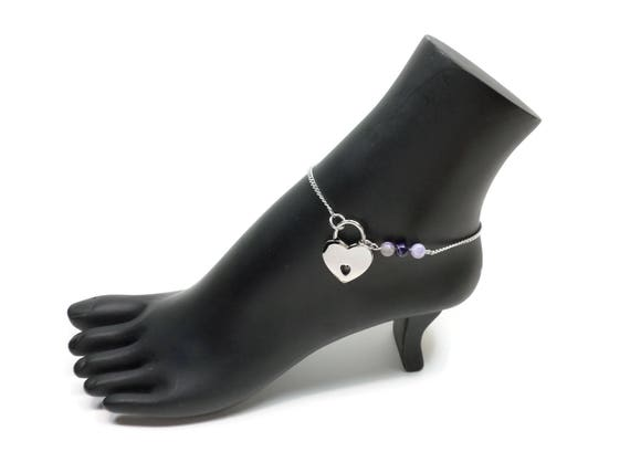 Locking anklet purple and hematite free shipping