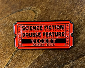 Science Fiction Double Feature Enamel Pin