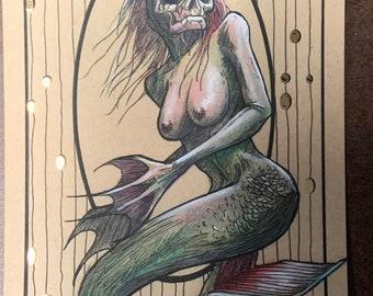 Mermaid Gold Foil Print