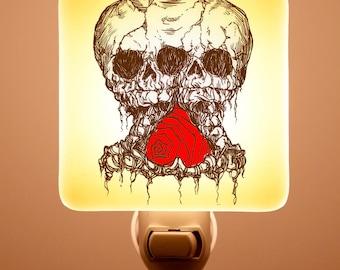 Conjoined Skull Fused Glass Night light