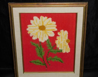 Picture Frame Yellow Metal wYellow Vintage Flowers and Jewel