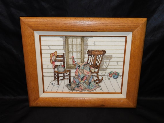 Awesome Crazy Quilt Rocking Chair Front Porch Cross Stitch Picture Framed Art Quilter Sewing Basket Hat Country Farm House Vintage Forskolin Free Trial Chair Design Images Forskolin Free Trialorg