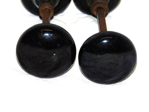 """2 1//4/"""" with Spindle Set of 2 Vintage Black Porcelain Door Knobs"""