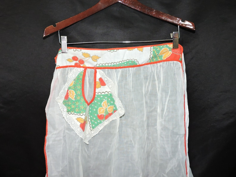 Vintage White Red Cherry Apron Cherries Tie Waist Kitchen Hostess 50s 60s Chiffon Cotton