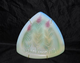 Alaska Fireweed Flowers Ceramic Wall Hanging Plate Green Pink Wild Flower Signed Triangle Shape