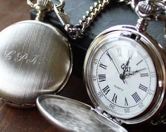 Brushed Silver Pocket Watch - White Dial - Engraved Groomsmen Gift, Best Man, Fathers Day - 9175