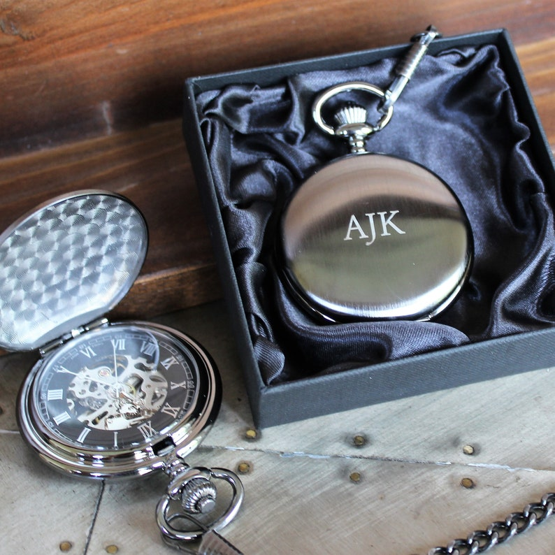 fabb8be0d1a88 Groomsmen s Brushed Gunmetal Mechanical Pocket Watch