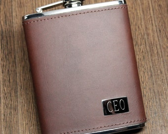 Genuine Brown Leather Flask - Personalized Groomsmen Gift, 21st Birthday, Gifts for Him, Dad, Father's Day