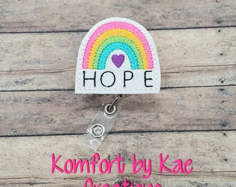 Glitter Hope Ribbon-Cancer Support Badge Reel-Nursing Badge-ID Holder-Feltie Badge Reel-Badge Clip Interchangeable