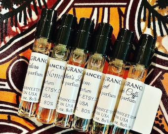 6 Perfume Sample Sprays: Pink MahogHany Collection Discovery Set. 2ml Atomizers (Excellent Gift Idea!)