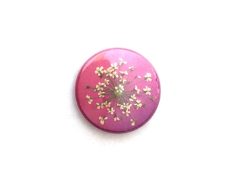 Magnet | Real Pressed Flower Magnet Badge Button | white queen annes lace