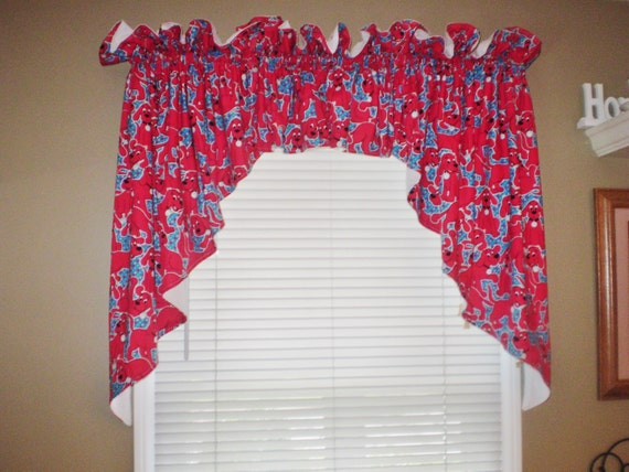 Curtains Window Treatments Cotton Clifford The Big Red Dog Etsy