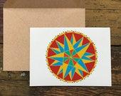 Triple Star Hex- Blank Greeting Card