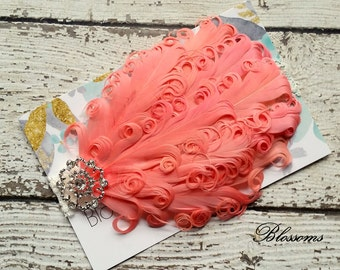 CORAL Curled Goose Feathers on Ivory Lace Headband - Photo Prop - Newborn Baby Toddler - Feather Headband