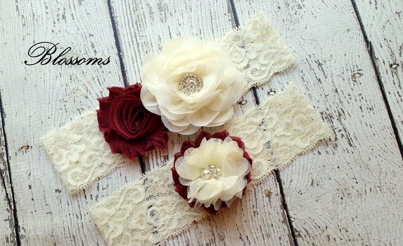 MAROON Bridal Garter Set  Ivory Keepsake & Toss Wedding image 0