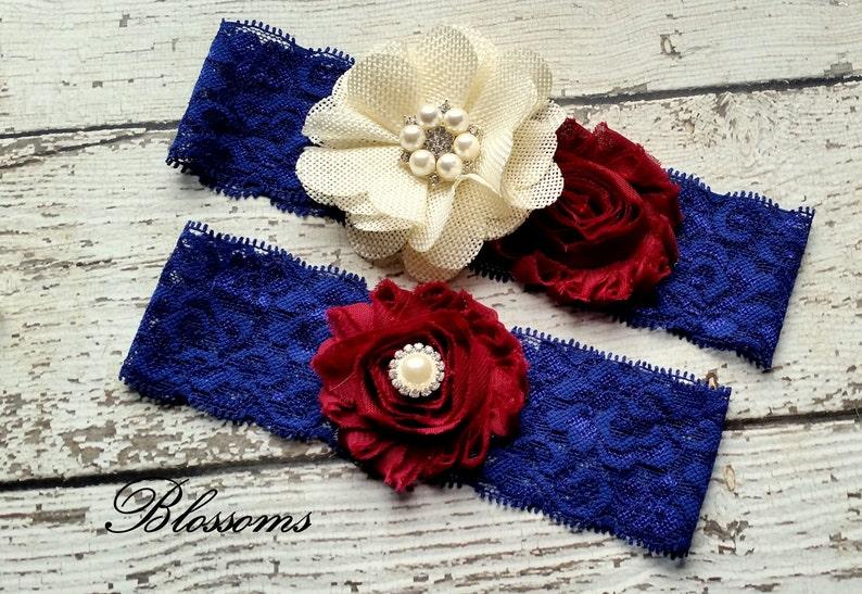 Rustic Country Wedding Burlap Chiffon Flower Pearl Lace Garters Keepsake /& Toss Garters ORANGE NAVY Bridal Garter Set Dark Blue