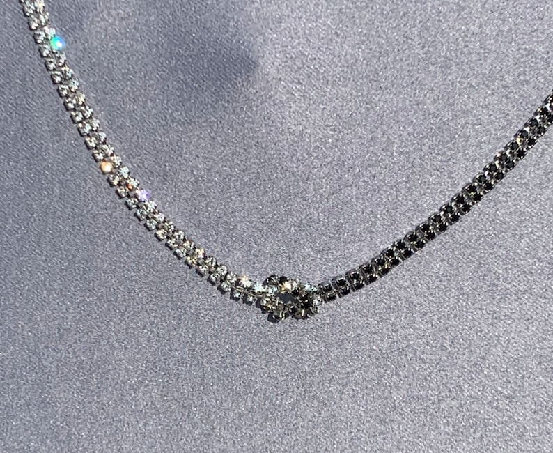 Beautiful Black and Diamond Tone Double Loop Necklace