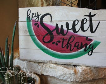 Reclaimed, Dyed, Hand Painted Wood Sign - Sweet Thang