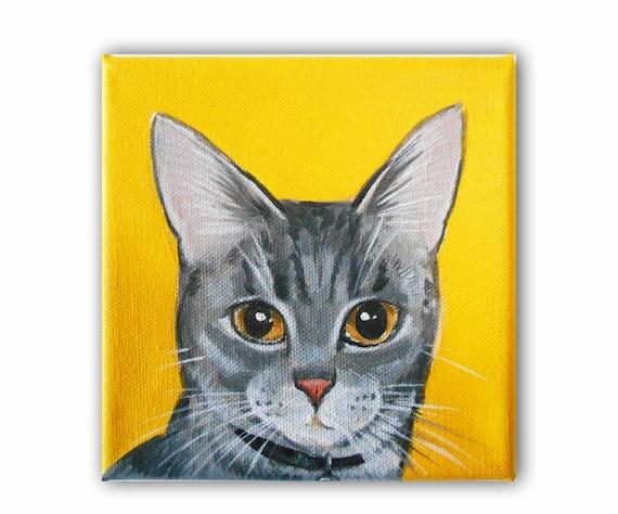 1 Pet Close-Up Polka Dot background Original Painting on Canvas 6x6 Custom Cat Portrait  Custom Dog Portrait Custom Pet Portrait