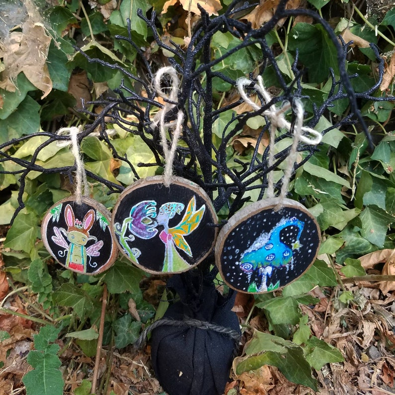 Flower fairy painted wood ornament