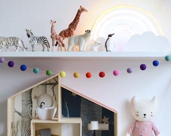 Rainbow Felt Garland 3 Feet, Felt Ball Garland, Rainbow Nursery, Baby Gift