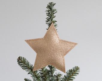 Christmas Star Tree Topper - Soft Gold Glitter