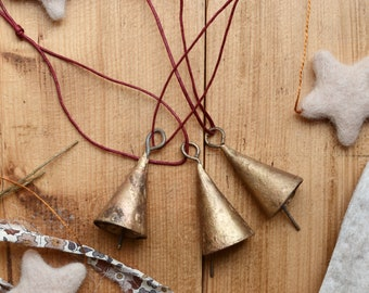 Brass Bell Christmas Ornaments - Traditional Winter Holiday Decorations - Set of 3