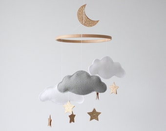 Personalised Cloud, Star and Moon Baby Mobile, Gold Nursery, Crib Mobile, White, Pale Grey and Soft Gold