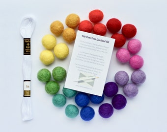 Rainbow Garland Kit, DIY Garland, Rainbow Felt Ball Garland, Felt Pom Poms