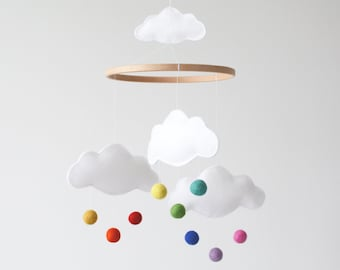 Rainbow Cloud Baby Mobile, Nursery Decor, New Baby Gift, Crib Mobile, White, Bright