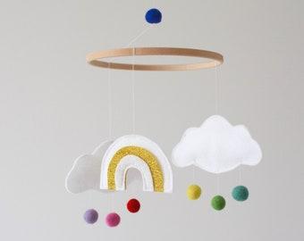 Rainbow and Cloud Baby Mobile, Nursery Decor, New Baby Gift, Crib Mobile