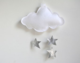White and Silver Baby Mobile, Cloud and Stars Baby Crib Mobile, Silver Nursery Decor