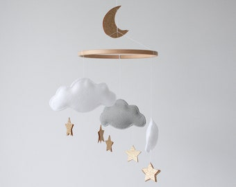 Personalised Cloud, Star and Moon Baby Mobile, Crib Mobile, Customised Nursery Gift