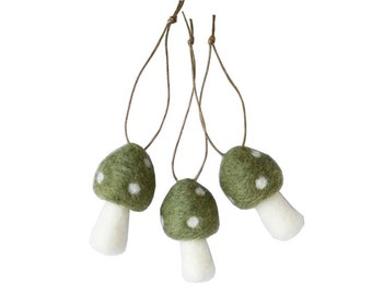 Christmas Ornaments Toadstool - Traditional Winter Holiday Decorations - Set of 3 Green