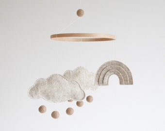 Natural Baby Mobile, Neutral Cloud and Rainbow, Nursery Decor, New Baby Gift, Crib Mobile,