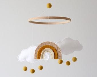 Cloud Rainbow Baby Mobile, Nursery Decor, New Baby Gift, Crib Mobile, White, Gold