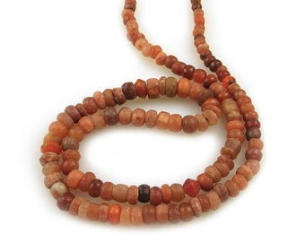 Rare Round Ancient Beads Carnelian Jasper Quartz Calcite and Agate Strand Necklace, Mali