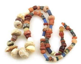 Ancient Mixed Stone Beads Carnelian Jasper Quartz Amazonite Agate Medieval Aggrey Beads Necklace Strand, Mali