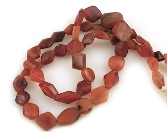 Ancient Stone Beads Carnelian and Jasper Tabular Lozenge Strand over 1000 years old, Mali (47 beads), Mali
