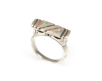 Old Tuareg Berber African Silver Ring with Inlay Sahara Mauritanian-Ring Size 9 3/4, Morocco