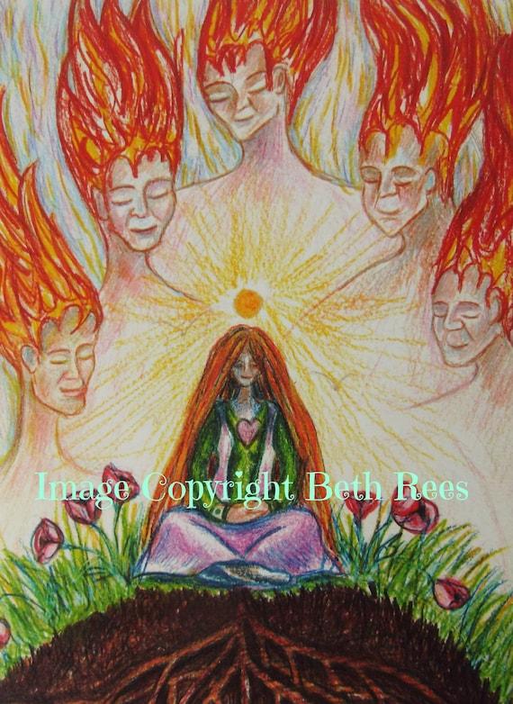 Meditation Greeting Card Heart Chakra Pagan Greeting Card Etsy