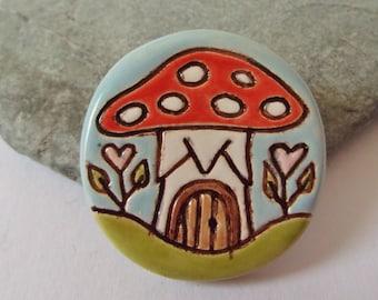 Ceramic Pottery Mushroom Brooch Pin in a Gift Box, Shawl Pin, Scarf Pin, Fairy Mushroom House, Fairy Jewellery, Mushroom Jewelry, Fairy Gift