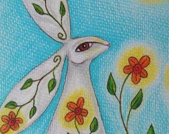 Spring Hare Greeting Card, Pagan Greeting Card, Blank Card, Birthday Card,  Printed Art Card, Eco Card, Hare Animal Totem, Goddess Art Card