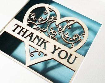 Laser de coeur je vous remercie en filigrane coupe boîte cadre cadeau, cadeau parfait de demoiselle d'honneur