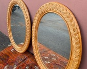 Pair Of Extremely Beautiful Oval 43 x 31 1 2 Braided Rattan Mirrors Heavy Rattan Backing Amazing Condition