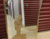 GOLDEN LADY Seventies Eglomise Woman Vertical Mirror With Metal Frame Chinoiserie Hollywood Regency