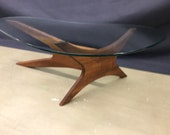 Adrian Pearsall Wood And Glass Bimorphic Coffee Table Sculptural Wood Coffee Table With Glass Gorgeous Condition Mid Century